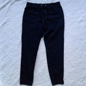 Lou Grey Pants Taper Leg Navy Blue Linen Blend M